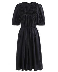 Diamond Honeycomb Dolly Dress in Black
