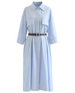 Button Down Belted Cotton Shirt Dress in Sky Blue