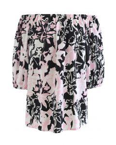 Summer Floral Print Off-Shoulder Top in Black