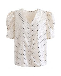Dots Puff Short Sleeve V-Neck Buttoned Top