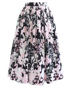 Summer Floral Print Pleated Midi Skirt in Black