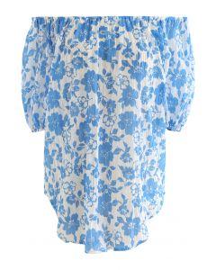 Off-Shoulder Blue Floral Textured Top