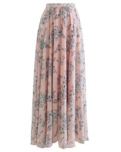 Sketch Peony Chiffon Maxi Skirt in Pink