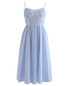Blue Floret Piping Embossed Cami Dress