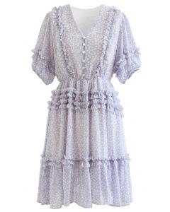 Daisy Print Ruffle Detail Chiffon Dress in Lilac