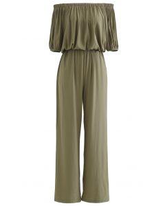 Off-Shoulder Cropped Top and Pants Set in Olive