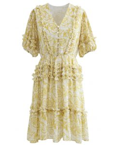 Rose Print Ruffle Detail Chiffon Dress in Mustard