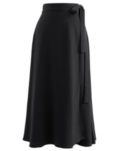 Tie Waist Wrap Midi Skirt in Black