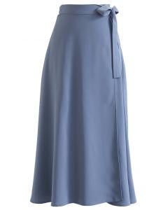 Tie Waist Wrap Midi Skirt in Blue
