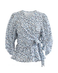 Ditsy Floral Tie Waist Ruffle Wrap Top
