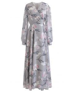 Stunning Grey Floral Print Wrap Chiffon Maxi Dress