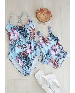 Tropical Floral Print Ruffle Cami Swimsuit for Mommy & Kids