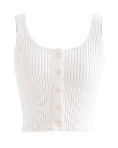 Ribbed Knit Buttoned Crop Tank Top in White