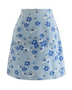 Falling Flowers Denim Bud Skirt in Light Blue