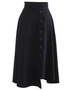 Button Decorated Asymmetric Midi Skirt in Black
