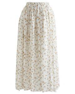 Striped Mesh Floret Midi Skirt in Mustard