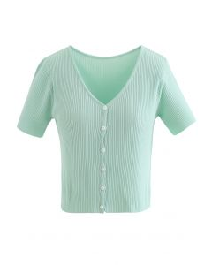 Buttoned V-Neck Short Sleeve Rib Knit Top in Mint