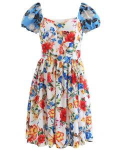 Vibrant Floral Print Jacquard Sleeve Dress