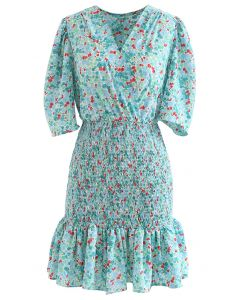 Ditsy Rose Wrap Shirred Ruffle Mini Dress in Green