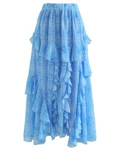 Ruffle Decorated Gingham Maxi Skirt in Blue