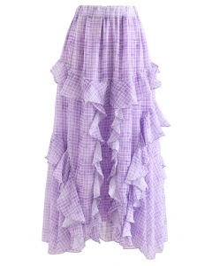 Ruffle Decorated Gingham Maxi Skirt in Purple
