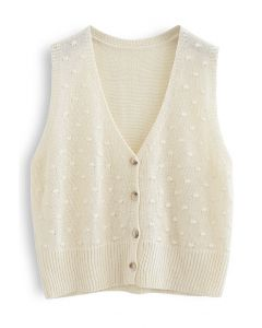 Dotted Button Down Sleeveless Knit Cardigan in Cream