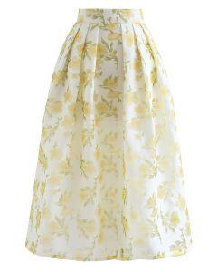 Apricot Blossom Pleated Midi Skirt