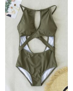 Cross Front Cutout Cami Swimsuit in Army Green