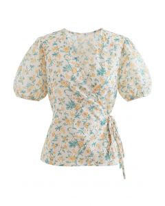 Self-Tie Yellow Floral Broderie Anglaise Wrap Top
