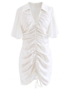 Flare Sleeve Drawstring Front Mini Dress in White
