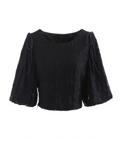 Soft Touch Lace Puff Sleeve Cropped Top in Black