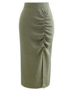 Ruched Front Slit Knit Pencil Skirt in Army Green