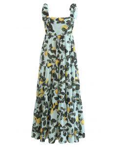 Minty Lemon Printed Tie-Strap Maxi Dress