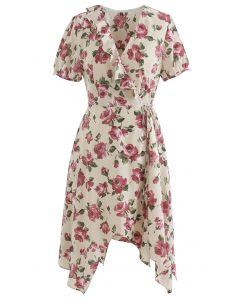 Retro Rose Printed Self-Tie Wrap Asymmetric Dress