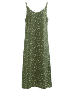 Falling Spotted V-Neck Cami Dress in Green