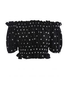 Embroidered Ruffle Hem Off-Shoulder Crop Top in Black