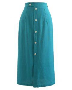Button Embellished Slit Front Midi Skirt in Teal