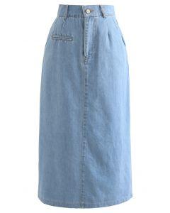 Back Slit Pocket Washed Denim Midi Skirt