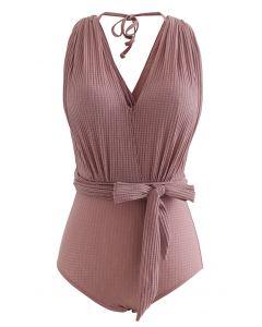 Halter Neck Open Back Swimsuit