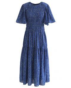 Flare Sleeve Padded Shoulder Printed Midi Dress in Blue