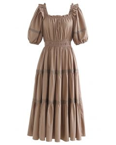 Ruffled Neck Crochet Detail Midi Dress in Brown