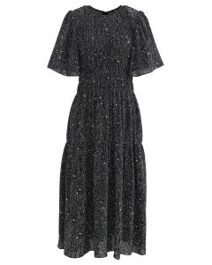 Flare Sleeve Padded Shoulder Printed Midi Dress in Black