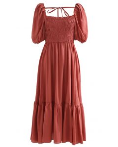 Square Neck Puff Sleeve Shirred Dress in Rust Red