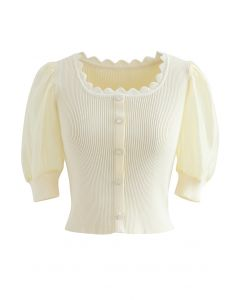 Spliced Sleeve Buttoned Crop Knit Top in Light Yellow