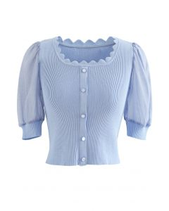 Spliced Sleeve Buttoned Crop Knit Top in Blue