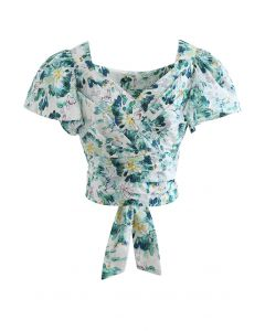 Wrap Front Bowknot Pleated Crop Top in Abstract Print