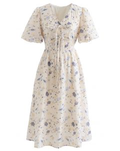 Crystal Edge Bubble Sleeve Embroidered Floral Dress in Blue