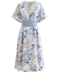 Lily Print Flare Sleeve Belted Midi Dress in Blue