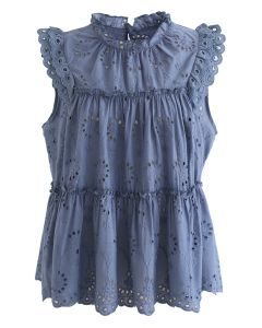 Eyelet Embroidered Flared Sleeveless Top in Blue