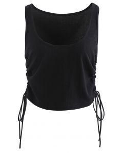 Side Drawstring Sleeveless Crop Tank Top in Black